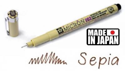 PIGMA MICRON 003 Japan - Профи пигментен тънкописец SEPIA