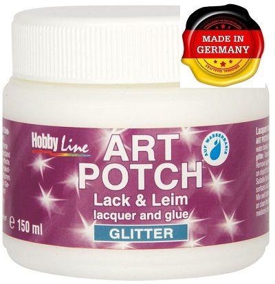 ART POTCH GLITTER SILVER - Лак / лепило за декупаж брокат сребро150 мл.