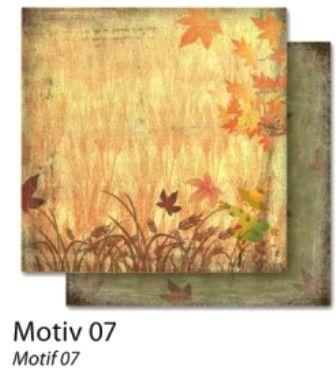 FB Autumn 07 - Дизайнерски картон с ембос-глитер елементи - 30,5 Х 30,5 см.
