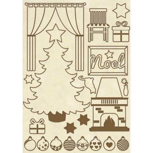 DECO WOODEN SHAPES A5 CHRISTMAS HOME  - Декоративни дървени елементи - 22бр.