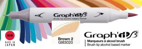 # GRAPH IT BRUSH MARKER - Двувърх дизайн маркери ЧЕТКА - BROWN 2