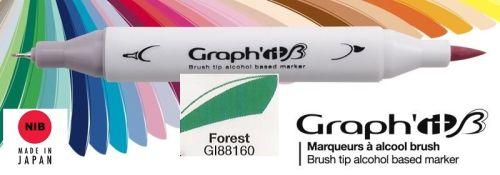 # GRAPH IT BRUSH MARKER - Двувърх дизайн маркери ЧЕТКА - FOREST