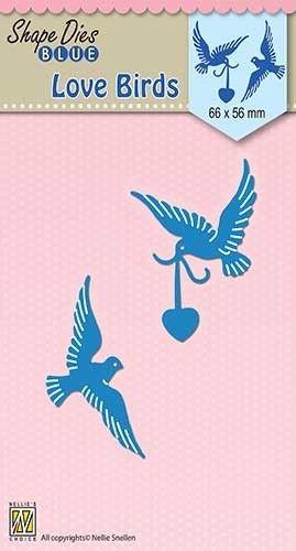 "SHAPE DIES ""Love birds"" 66x56mm   - Фигурална щанца за рязане и релеф SDB038"