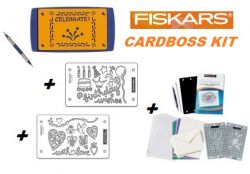 EMBOSS CARDBOSS KIT by FISKARS - ОСНОВА + ИНСТРУМЕНТ + ШАБЛОНИ + PARCHMORE SET