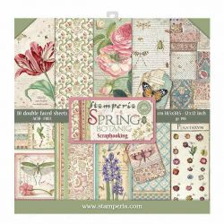 """STAMPERIA Double Face Sheets 10 Pack + 2free """"SPRING""""  - Дизайнерски блок 12""""x12"""""""