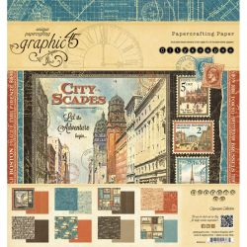 Graphic45, USA  Cityscapes 8x8 Paper Pad - Дизайн блок 20 x 20