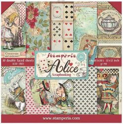 """STAMPERIA Double Face Sheets 10 Pack + 2free """"ALICE""""  - Дизайнерски блок 12""""x12"""""""