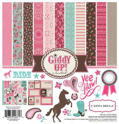 "Carta Bella Giddy Up Girl Collection Kit 12"" x 12""- Дизайнерски блок 30.5 X 30.5"
