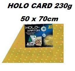 HOLOGRAPHIC CARD 230g  50х70см  - Холорафски картон GOLD Stars