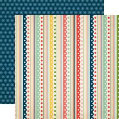 CARTA BELLA  USA , FESTIVE STRIPE - Дизайнерски скрапбукинг картон 30,5 х 30,5 см.