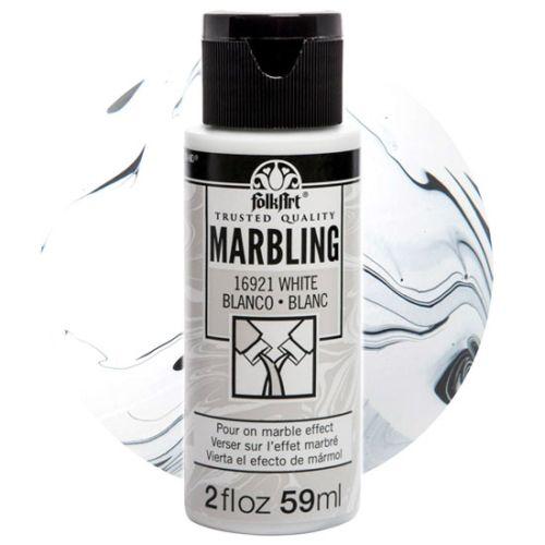 FOLK ART  NEW MARBLING PAINT - Боя за мраморен ефект 59мл WHITE / БЯЛА