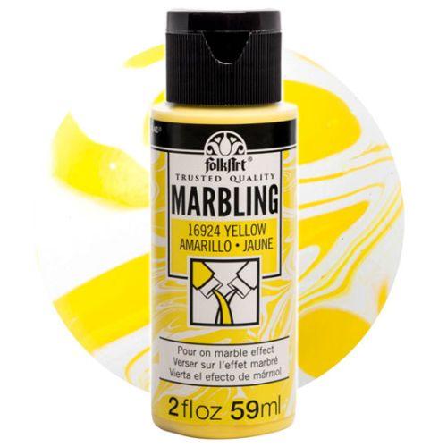FOLK ART  NEW MARBLING PAINT - Боя за мраморен ефект 59мл YELLOW / ЖЪЛТ