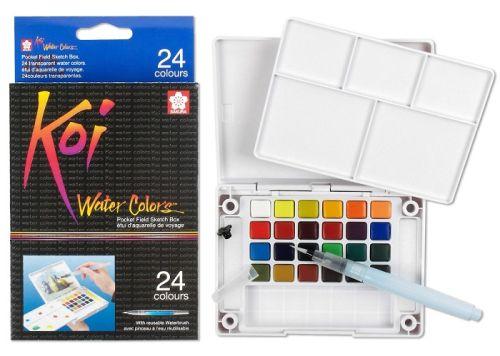 # KOI SAKURA 24 Watercolours - Екстра фини японски акварели к-кт 24 цвята + Aquabrush