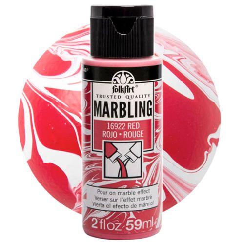 FOLK ART  NEW MARBLING PAINT - Боя за мраморен ефект 59мл RED / ЧЕРВЕНА