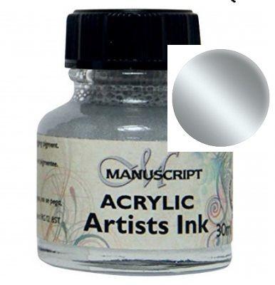 MANUSCRIPT ARTIST ACRYLIC  INK - SILVER