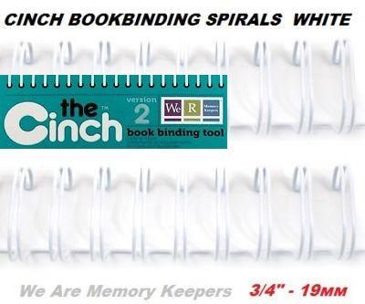 """CINCH WIRE BINDING SPIRALS - Двойни спирали за подвързване  3/4"""" 19мм  / 10бр БЕЛИ"""