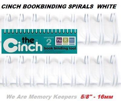"""CINCH WIRE BINDING SPIRALS - Двойни спирали за подвързване  5/8"""" 16мм  / 10бр БЕЛИ"""