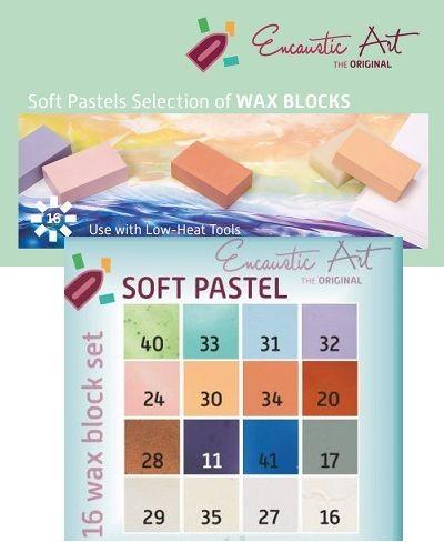Encaustic ART WAX  SET - Комплект 16 цв. восък за Енкаустика - SOFT PASTELS SET