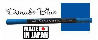 MEMENTO BRUSH MARKER , Japan - Двувърх маркер ЧЕТКА - DANUBE BLUE
