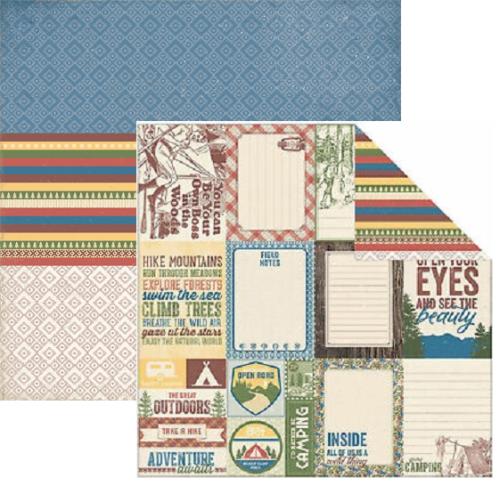 AUTHENTIQUE USA # ADVENTURE - Дизайнерски скрапбукинг картон 30,5 х 30,5 см.