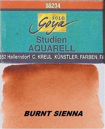 GOYA WATERCOLOUR  FULL PAN - Фин акварел `голямо кубче` # BURNT SIENNA