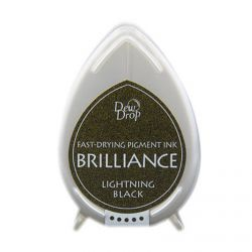BRILLIANCE DewDrop Pigmet Ink, Japan - Тампон с бързо съхнещо мастило - BLACK LIGHTNING