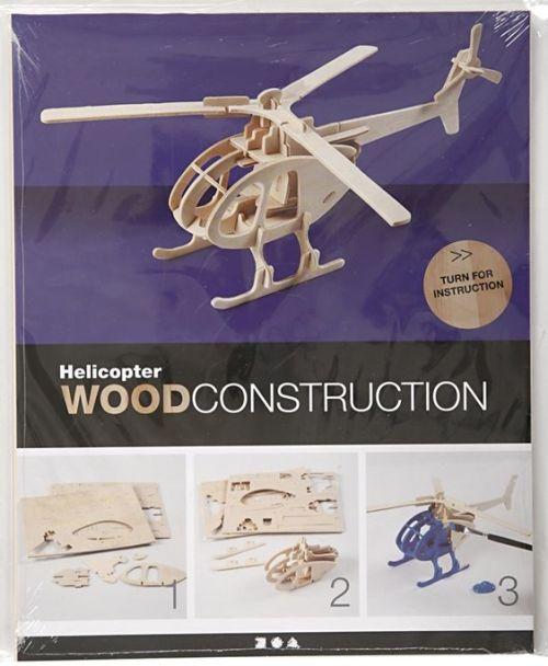 3D Wood Construction Kit HELICOPTER - Дървен пъзел - конструктор 26,5x14x26