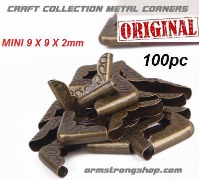 METAL CORNERS MINI  100 pack - Метални ъгли за албуми и бележници 100бр /  9mm- ANTIQUE BRONZE