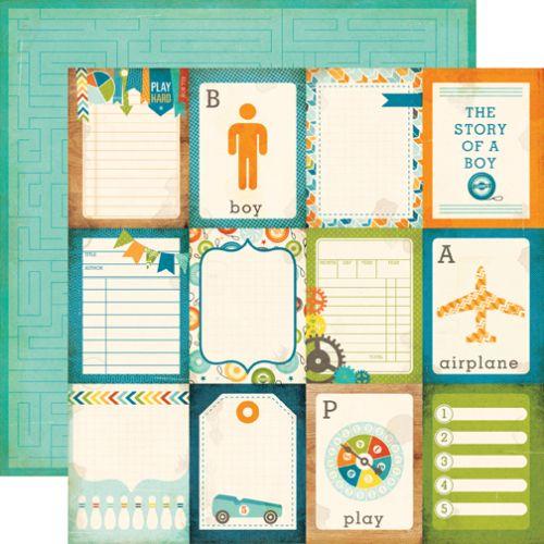ECHO PARK USA # ALL ABOUT A BOY - Дизайнерски двустранен скрапбукинг картон 30,5 х 30,5 см.