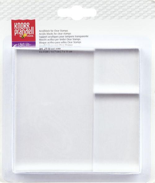 Acrylic Block Set - 4 x 4 cm, 4 x 7 cm, 7 x 11 cm transparent