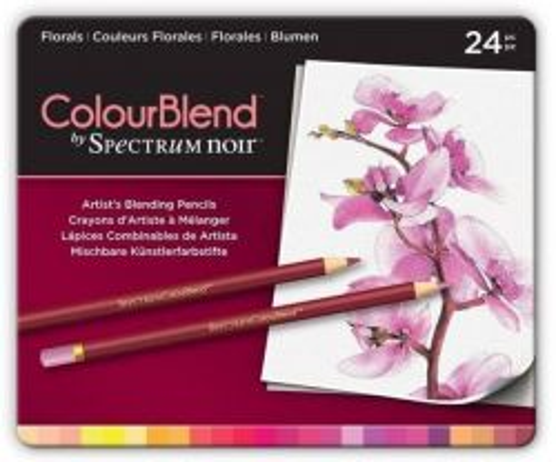 # Spectrum Noir Blendable Pencils SET - Метална кутия цветни ПОЛИХРОМНИ дизайн моливи 24цв  -  FLORALS