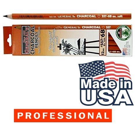 CHARCOAL PENCIL GENERALS  6B , USA - Дизайнерски ВЪГЛЕНОВ молив 6B EXTRA SOFT