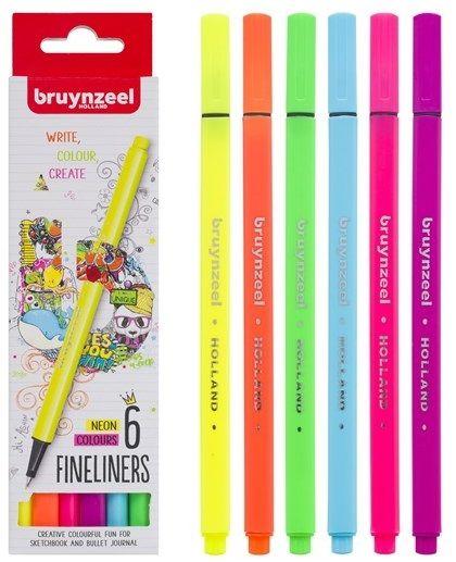 BRUYNZEEL 6 FINE LINERS  - Комплект тънкописци 6цв NEON