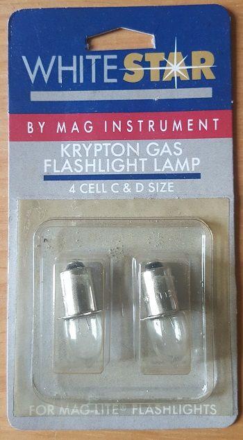 WHITE STAR KRYPTON GAS LAMP - Винтидж криптонови крушки за MAG и др. прожектори 2бр