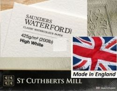 SAUNDERS WATERFORD CP 425g HIGH WHITE 76 x 56 - Професионален акварелен ръчен картон 100% памук