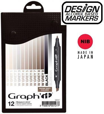 # GRAPH IT ALCOHOL MARKERS 12 - Двувърхи дизайн маркери 12цв WARM GREYS