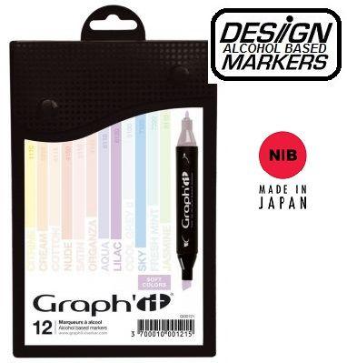 # GRAPH IT ALCOHOL MARKERS 12 - Двувърхи дизайн маркери  12цв SOFT