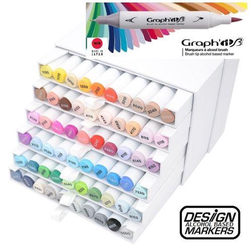 # GRAPH IT BRUSH MARKER BOX 60 - Двувърхи дизайн маркери ЧЕТКА в твърд бокс 60бр