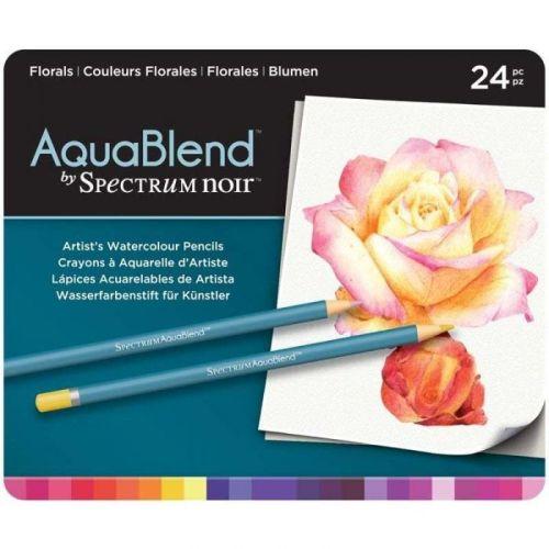 # Spectrum Noir AQUABLEND Pencils SET - Метална кутия АКВАРЕЛНИ дизайн моливи 24цв  -  FLORALS