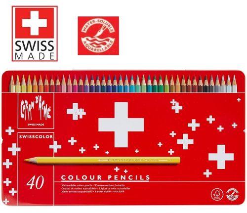 CARAN D'ACHE WATERCOLOUR PENCILS 40 -  АКВАРЕЛНИ цветни моливи за рисуване 40цв / метална кутия