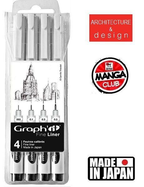 GRAPH IT 4 FINE LINERS  - Профи комплект тънкописци BLACK