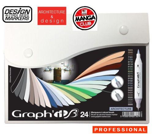 # GRAPH IT BRUSH MARKERS 24 - Двувърхи дизайн маркери ЧЕТКА  24цв ARCHITECTURE