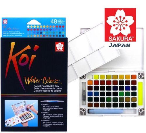 # KOI SAKURA 48 Watercolours - Екстра фини японски акварели к-кт 48 цвята + Aquabrush