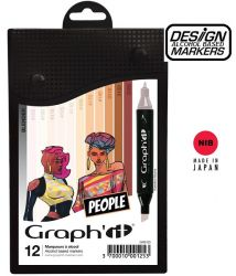 # GRAPH IT ALCOHOL MARKERS 12 - Двувърхи дизайн маркери 12цв SKIN