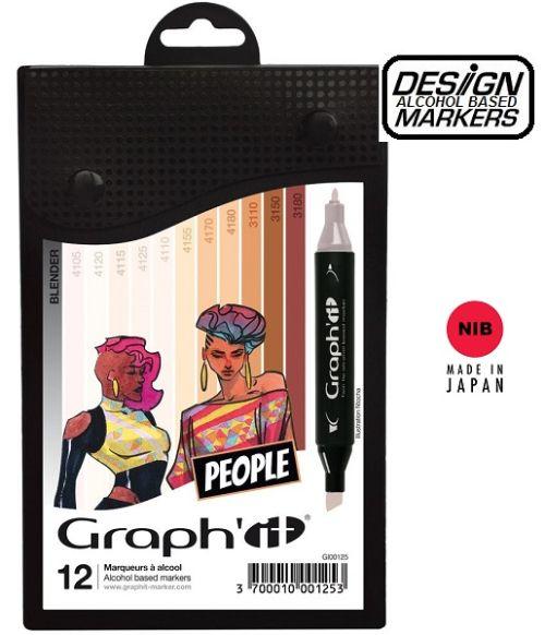 # GRAPH IT ALCOHOL MARKERS 12 - Двувърхи дизайн маркери 12цв SKIN