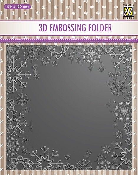 "3D-embossing folder ""Snowflake frame"" 150x150mm- 3D Ембос папка"