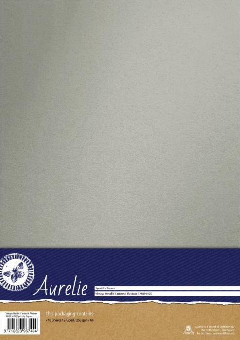 AURELIE PEARL 10бр - Двустранен перла-металик картон 240гр # PLATINUM SILVER