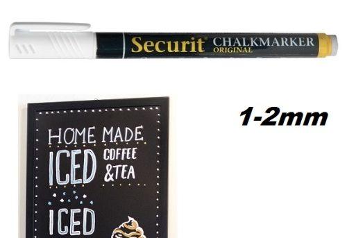 CHALK MARKER SECURIT 1-2mm - Маркер за черна дъска и стъкло  БЯЛ