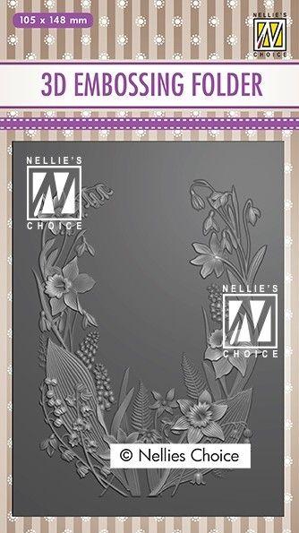 """3D-embossing folder """"Flower frame"""" 105x148mm- 3D Ембос папка"""