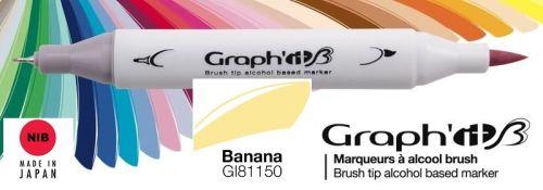 # GRAPH IT BRUSH MARKER - Двувърх дизайн маркери ЧЕТКА - BANANA